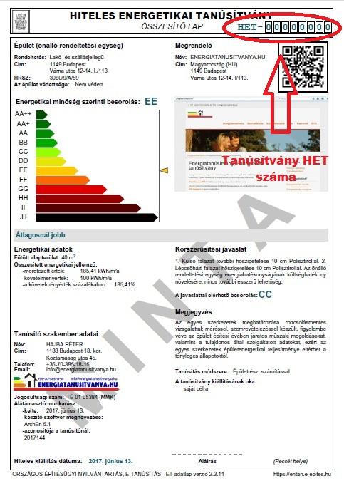 Energetikai Tanúsítvány HET száma